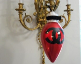 French Inspired Shatterproof Hand Painted Extra Large Red Christmas Bulb Shaped Christmas Ornament Rhinestone and Black Velvet Bow