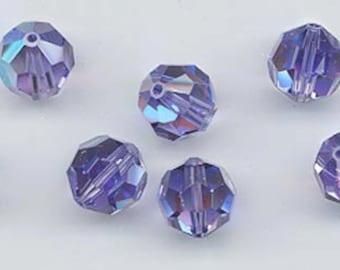 24 sparkling Swarovski crystals - art 5000 - 6 mm - tanzanite AB