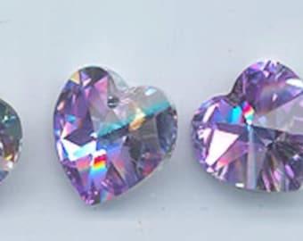 Four pieces rare vintage Swarovski heart pendants - Art. 6202 - 14.4 x 14 mm - crystal vitrail light