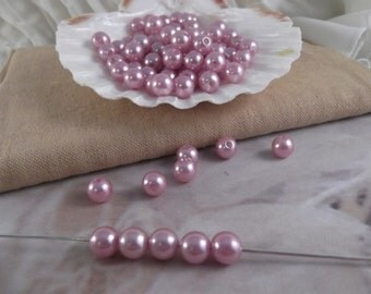 8mm Lilac Faux Loose Pearls ~ 100 pieces