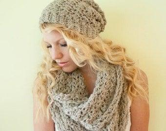 FALL SALE Slouchy hat beanie crocheted - oatmeal - wool