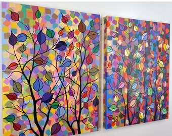 SALE 20% OFF Large Abstract Fantasy Tree Dot Painting Dining Room Over the Bed Diptych Whimsical vivid wall art Colorful Surreal 24x36 JMich