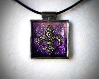 Purple Fleur de Lis Pendant