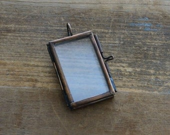 Short Double Sided Rectangle Glass Frame Pendant Hinged Locket Charm Frame Antique Bronze Vintage style Jewelry Supplies Small  (BD002)