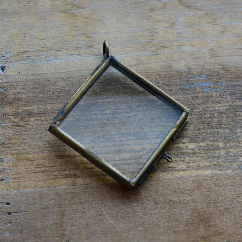 Bronze Glass Frame Pendant Diamond Shape Double Sided