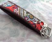 Key Fob - Handmade Day of the Dead Print - Wrist let Key Fob - Key Fob - Key Wrist let - Fabric Key Fob - Mexican Sugar Skulls