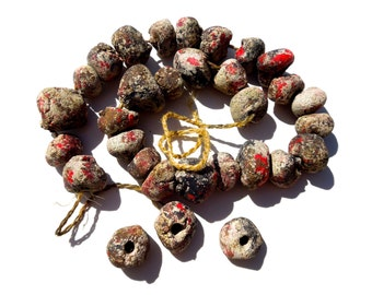 HANDCRAFTED: 20 Warrior Blood Beads - Distressed Beads - Stone Beads - Stonement - (9-A3-00004496)