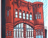 Engine House #5--A Linoleum Print/Linocut AP of an Old Red Firehouse in Pittsburgh Retro Stone Landmark Sale Bargain Clearance