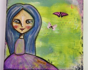Imagine You Can Fly. Mixed media artwork. Original Art for Sale, Original Art Work, Fine Art, Original Painting, Gift Women