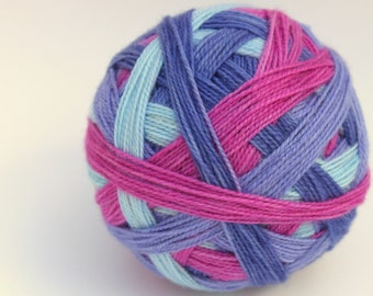 "Almost Perfect:  Self Striping Sock Yarn, Superwash Merino, Nylon and Silver Stellina Fingering Weight, in ""Morning Glory"""