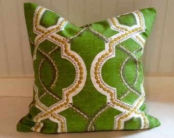 Green, Grey, Gold and Ivory Trellis Pillow Covers in Turnabout Kelly
