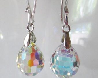 Faceted AB Plump Clear Crystal Teardrop Sterling Silver Earrings
