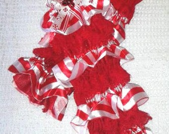 Candy Cane Legwarmers w/Designer Ribbon Bows with Bells, Infant Toddler Legwarmers, Red White Stripe legwarmers,Christmas,Jingle All The Way