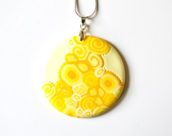 Yellow and White Pattern Pendant Necklace, Polymer Clay