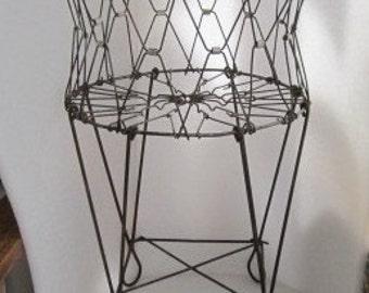 2 Vintage 1 Tiny 1 Full Size Wire Basket Laundry Cart Salesman Sample