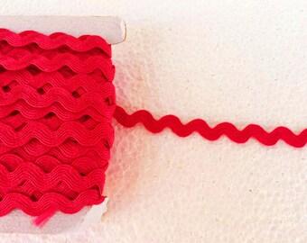 5.5 yards red rick rack trim, zig zag edging ribbon, ric rac ribbon, ric rac trim, sewing trim, laces trim, Wavy Trim, Polyester rick rack