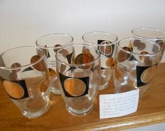 Vintage glass coin tumblers.  22K fine gold.  Mad Men.  Set of 6 glasses.