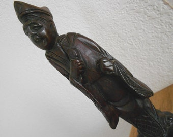 Vintage wooden Chinese figurine.  Collectible.  Priest.  Sculpture.