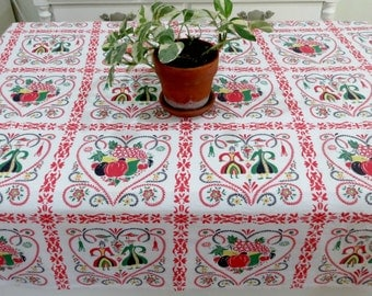 Vintage Print Tablecloth, Pennslvania Dutch Folk Art Pattern, 51 x 40, Hearts Couples Fruit, Vintage Linens by TheSweetBasilShoppe