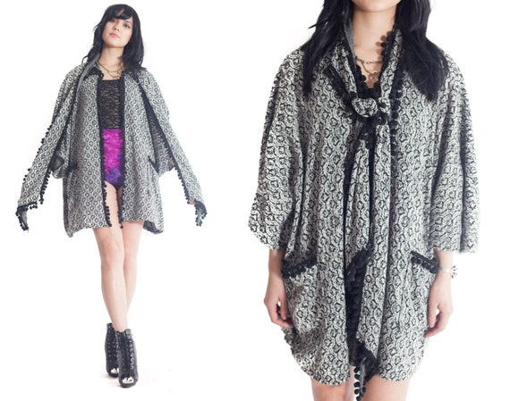 VIXEN Pom Pom Cape Jacket // Sewn in Scarf // Pockets // One Size