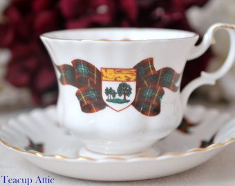 Royal Albert Prince Edward Island Tartan Teacup and Saucer, Provincial Tartan, English Bone china, Garden Party, ca. 1962