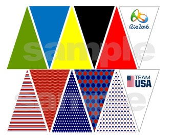 Printable Instand Download Olympic Mini Banner Pennant Line