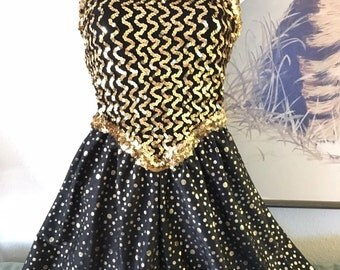 Vintage Black and Gold Sequin and Polka Dot Shorts Leotard Dance Costume. Tap, Jazz, Broadway, Old Hollywood, High Quality. Adult L/XL
