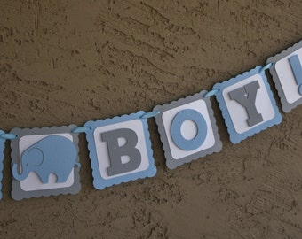 "Elephant Baby Shower Banner , It""s A Boy,  Blue , White and Grey, New Baby, Party Banner, New Baby Celebration.Baby Boy"