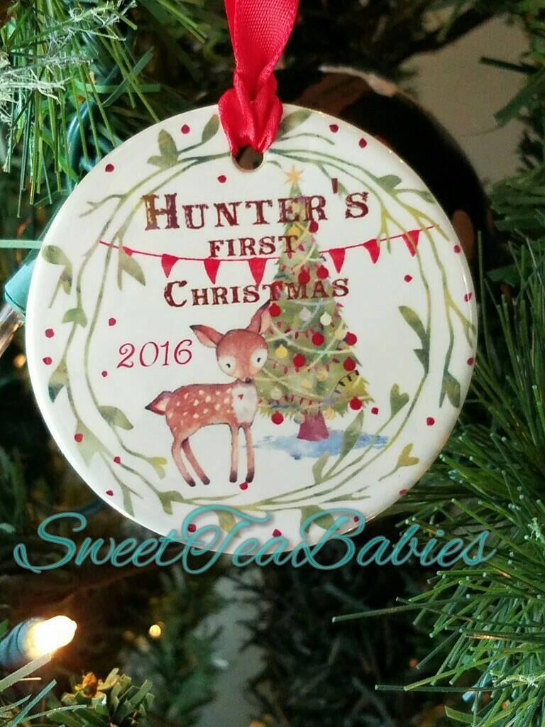 baby u0026 39 s first christmas ornament deer ornament fox