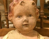 Antique Creepy Doll Halloween Prop Composition and Cloth 18 Inch Doll Zombie Doll Project Doll
