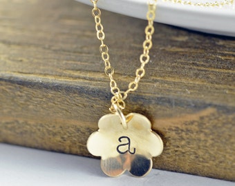 Flower Girl Gift, Gold Flower Petal Necklace, Personalized Gift, Gift for Flower Girl, Wedding Jewelry, Hand stamped Necklace, Gold Initial