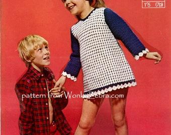 Vintage Crochet Girls Dress Tunic Pattern PDF B078 from WonkyZebra