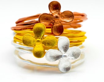 Stacking Rings Flower Patterns Silver Rose Gold and Yellow Gold Plate