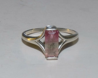 Bi-Color Tourmaline (9mm Baguette) Silver Ring Size 9