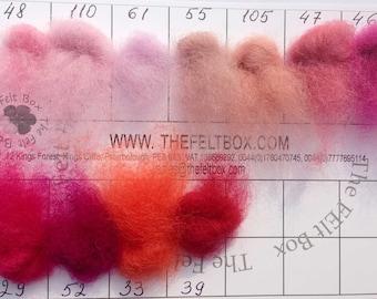 Pink Needle felting wool, Embellishment Wool, Carded wool for felting, unspun fibre, wool batt, 100g 3.5 ounces, single color
