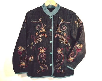 Black Denim Jacket by Denim & Co., Embroidery and Turquoise Trim, Women's size Medium