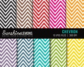 Chevron Digital Paper Set of 10 in Bakers Twine Colors - COMMERCIAL USE Read Terms Below