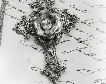 LA MARIÈE Victorian Cross Necklace, Heirloom Filigree Bridal Cross, Mother of the Bride Necklace, Custom Options Available