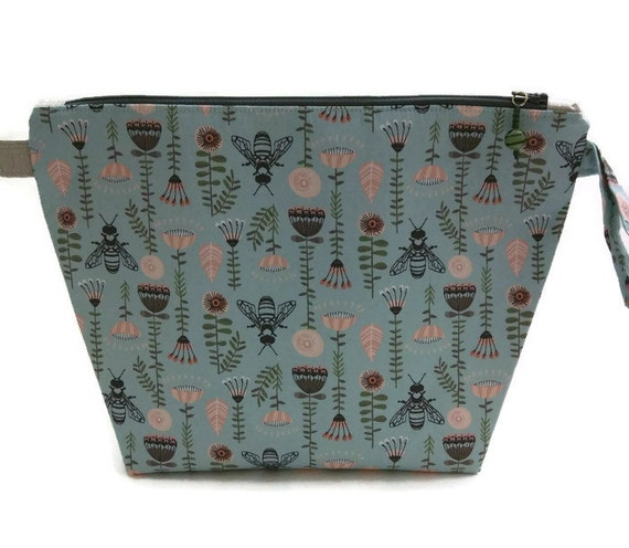 Zippered Knitting Bag : Knitting project bag medium zippered wide mouth wedge