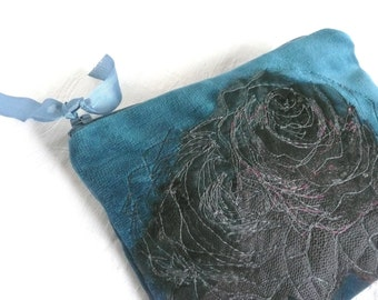 Blue velvet pouch - embroidered rose velvet pouch - hand made pouch - vintage lace rose purse - zipped pouch - embroidered purse