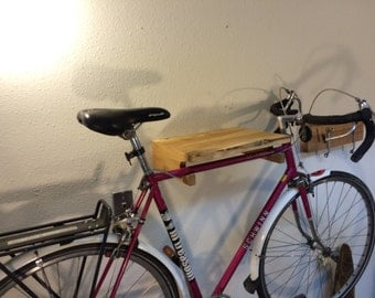 Live Edge Oregon White Oak Bike Rack with Upcycled Spoke Gear Hooks. Shipping Included.