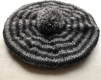 Beret, Hat, Adult Beret, Tam, Hand Knitted, Wool, Grey And Black, UK Seller,