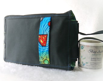 Book Bag, Toy Bag, Small Lunch Bag, Top Handle Lunch Bag, Small Tote, Superman Flanel Bag, Black Small Carry All Tote Bag Again