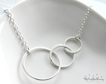 Circle Necklace Silver Eternity Necklace Three Circles Necklace 3 Circles Necklace Bridesmaid Jewelry Bridal Jewelry