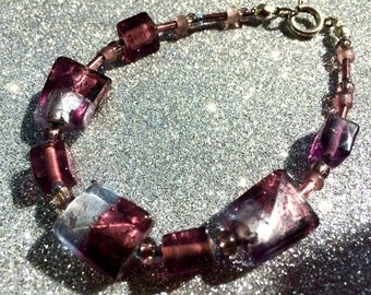 Dark Amethyst Purple and Lilac Foiled Chamfer Glass Bracelet approx 7 inches Ladies Jewellery Gifts for her
