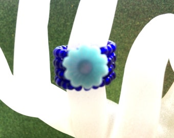 Light Blue Flower Button and Dark Blue Rocaille Memory Wire Expandable Ring by JulieDeeleyJewellery, Seed Bead Ring, Memory Wire Ring