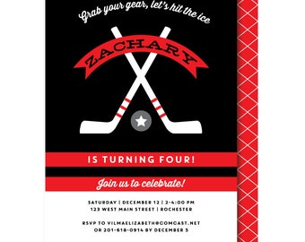 Ice hockey invite Etsy