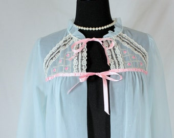 Vintage Ethereal Peignoir Pale Blue with Pink Ribbon