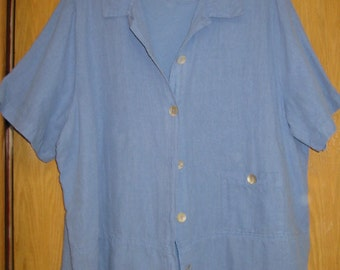 vintage french blue linen/cotton shirt with matching cotton tee  by 'Hot Cotton' . . womens 2X . . made in the USA . . excellent condition