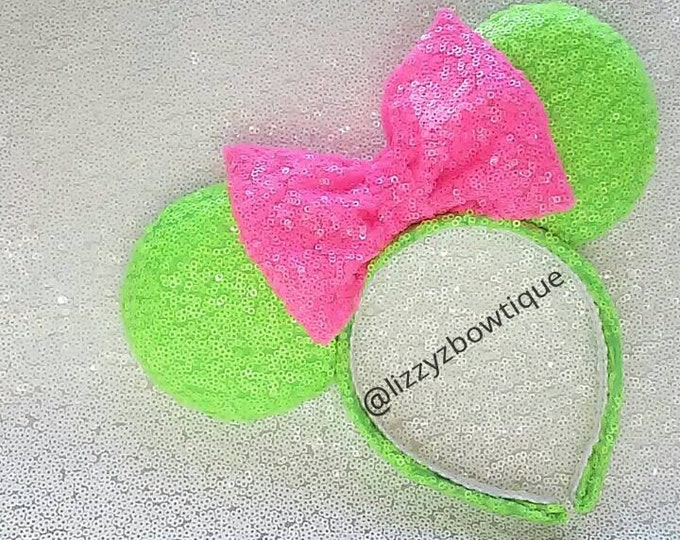 Neon green Minnie ears with neon pink sequin bow or pick any color bow